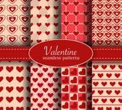 Valentine day heart love seamless pattern set Stock Photo