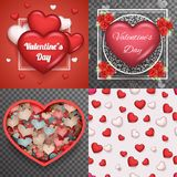 Valentine Day Heart Realistic 3d Symbol Transparent Doodle Background Greating Card Template Mock up Design Set Vector Royalty Free Stock Images