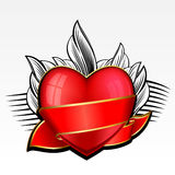 Valentine day heart with red ribbon and leaves Stock Image