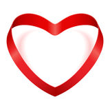 Valentine Day heart from red silk ribbon. Valentine's day illustration Royalty Free Stock Image