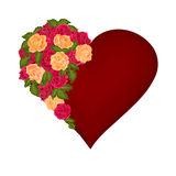 Valentine day heart with red and tea roses vector Royalty Free Stock Images