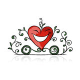 Valentine day, heart shape carriage sketch  Stock Image