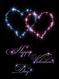Valentine Day Heart Stars. Two sparkling pink and blue twinkling hearts made of sparkling stars on a black background. Romantic Happy Valentine Day holiday gift Stock Photography