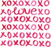 Valentine Day Heart- und Aquarellbeschriftung Lizenzfreie Stockfotografie