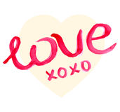 Valentine Day Heart and watercolor lettering Stock Photos