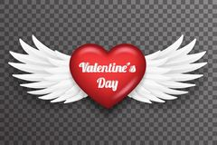Valentine day heart white bird angel fly wings 3d realistic design transparent background vector illustration stock illustration