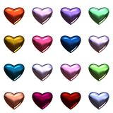Valentine day hearts isolated on white. 16 Colorful 3D hearts on one page in format. Glass texture effects add more luxury to these romantic hearts stock illustration