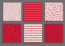 Valentine Day Hearts Patterns Set illustration de vecteur