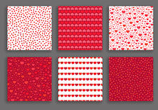 Valentine Day Hearts Patterns Set. Romantic backgrounds collection for gift paper, greeting card, banner, wallpaper. Vector decorative design elements Stock Photography