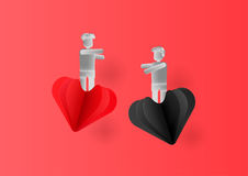 Valentine Day with hearts and people. Valentine Day with hearts and people in paper cut style. Vector Design Stock Image