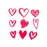 Valentine Day hearts sketch icons pattern vector art Stock Images