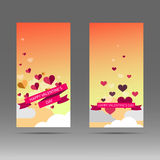Valentine day hearts at the sky. Abstract vector banner. Royalty Free Stock Images
