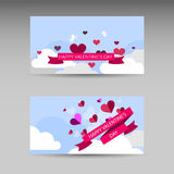 Valentine day hearts at the sky. Abstract vector horizontal banner. Royalty Free Stock Photo