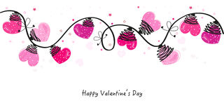 Valentine Day hearts vector border and greeting card Royalty Free Stock Photo