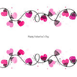 Valentine Day with hearts vector greeting card Stock Image