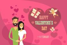 Valentine Day Holiday Couple Embrace-de Kaart van de de Vormgroet van het Liefdehart Royalty-vrije Stock Afbeeldingen