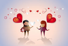 Valentine Day Holiday Couple Embrace Love Heart Shape Greeting Card Stock Photo