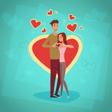 Valentine Day Holiday Couple Embrace Love Heart Shape Greeting Card Royalty Free Stock Image