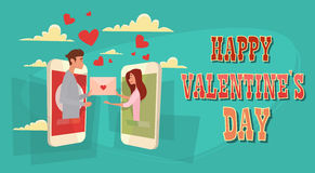 Valentine Day Holiday Couple Social Network Message Communication Love Heart Shape Greeting Card Royalty Free Stock Image