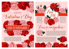 Valentine Day holiday greeting card. Valentine Day greeting card or poster for 14 February love holiday. Vector retro design template for Happy Valentine day of royalty free illustration