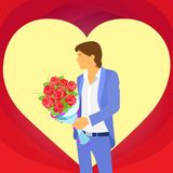Valentine day holiday man in heart shape Stock Photos