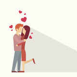 Valentine Day Holiday Silhouette Couple Lovers Embrace Heart Shape Stock Images