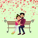 Valentine Day, Hugging Couple on Bench Vector. Valentine day hugging man and woman sitting on bench vector. Postcard decorated by red hearts, boyfriend embracing royalty free illustration