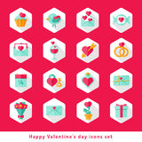 Valentine day icon set in flat Stock Photography