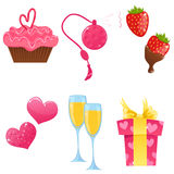 Valentine day icons. Cute colorful icons for a St. Valentine's Day Stock Images