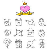 Valentine day icons with balloon gift bird Royalty Free Stock Images