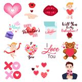 Valentine Day Icons and Clip Arts Illustration. A vector illustration of Valentine Day Icons and Clip Arts Stock Photo