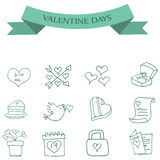 Valentine day of icons collection Stock Images