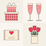 Valentine day icons. Design element for postcard, banner, flayer. Lovely icons. Gift box, champagne, valentine card, flowers. Flat line style vector Stock Photos