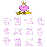 Valentine day icons element collection Royalty Free Stock Photography