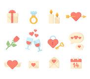 Valentine day icons elements collection. Vector Royalty Free Stock Image