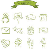 Valentine day icons with gift love rose Stock Photography