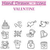 Valentine day icons with hand draw Royalty Free Stock Images