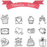 Valentine day icons with hand drawn Royalty Free Stock Images