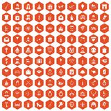 100 valentine day icons hexagon orange. 100 valentine day icons set in orange hexagon isolated vector illustration Stock Images