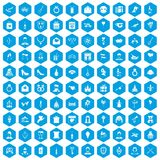 100 valentine day icons set blue. 100 valentine day icons set in blue hexagon isolated vector illustration vector illustration