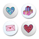 Valentine Day Icons Set Collection d'autocollants de coeur et de cadeaux Illustration de vecteur Photos libres de droits