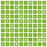 100 valentine day icons set grunge green Royalty Free Stock Photography