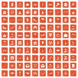 100 valentine day icons set grunge orange. 100 valentine day icons set in grunge style orange color  on white background vector illustration Stock Photography