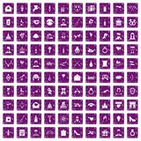 100 valentine day icons set grunge purple Stock Photography