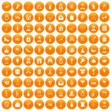 100 valentine day icons set orange. 100 valentine day icons set in orange circle isolated vector illustration royalty free illustration