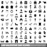 100 valentine day icons set, simple style Royalty Free Stock Photo