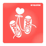 Valentine day icons for sneaker shoes lovers. Illustration design Stock Photo