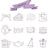 Valentine day icons style collection Royalty Free Stock Photos