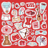 Valentine Day icons symbols vector illustration collection. Set of love doodle 14 february Valentine Day icons vector illustration. Save the date decoration Stock Photo