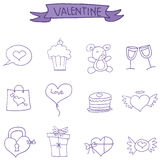 Valentine day icons vector art. Collection stock Royalty Free Stock Images